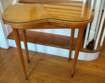 Vintage Kidney Shaped Vanity Dressing Table Desk Computer Table With Glass  Top