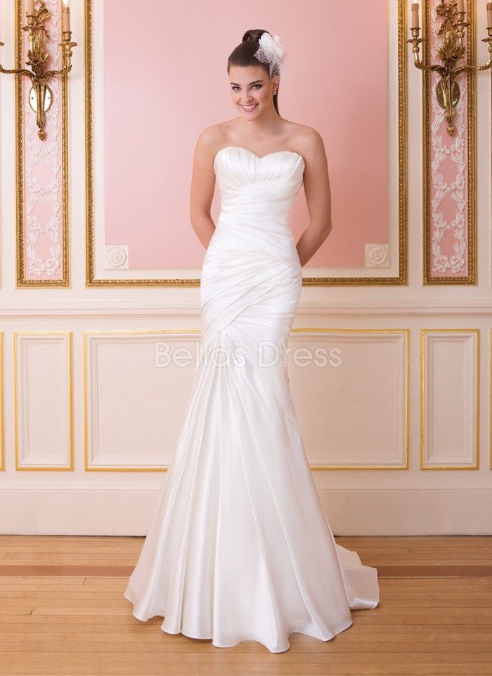 Concise Taffeta Fit N Flare Sweetheart Court Train Summer Wedding Dresses