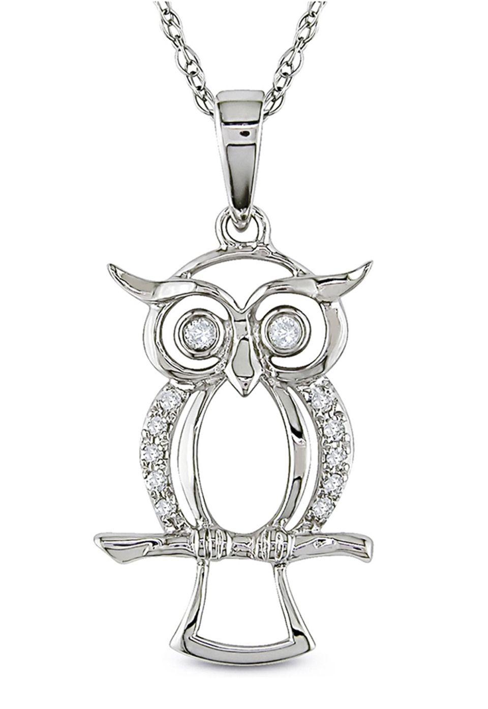 0.05 ct Diamond Owl Pendant in 10k White Gold
