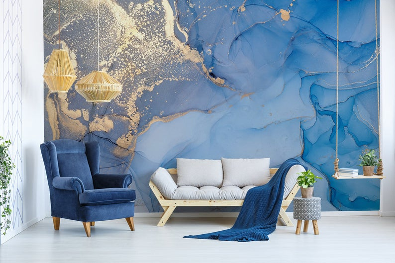 Art Wallpaper Peel And Stick Self Adhesive Marble Wall Mural Removable Abstract Wallpaper Blue Wall Mural Gold Wallpaper Living Room Bedroom Gold Wallpaper Living Room Wallpaper Living Room Marble Wall Mural