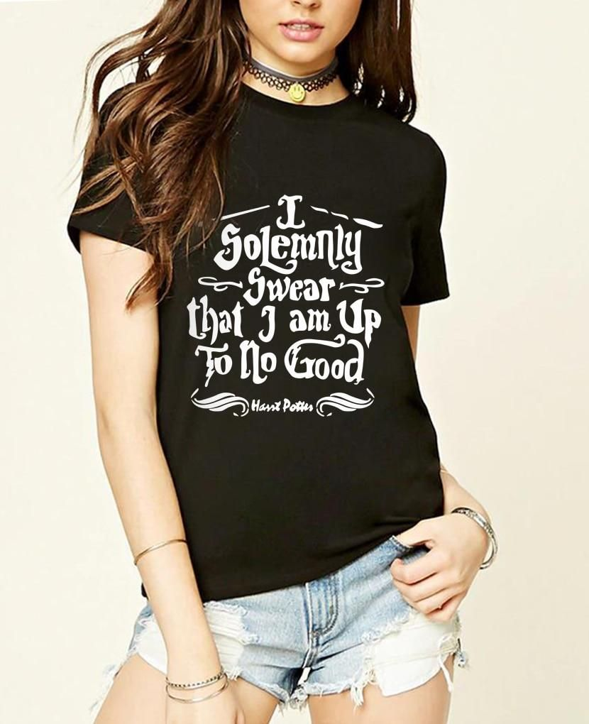 41668f194 Homme I Solemnly Swear that I am Up To No Good T Shirts Women Slim Fit sexy  Cotton Tshirts Female Print fashion tops tee