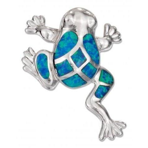 925 Sterling Silver Hawaiian Blue Mosaic Opal Lucky Frog Pendant