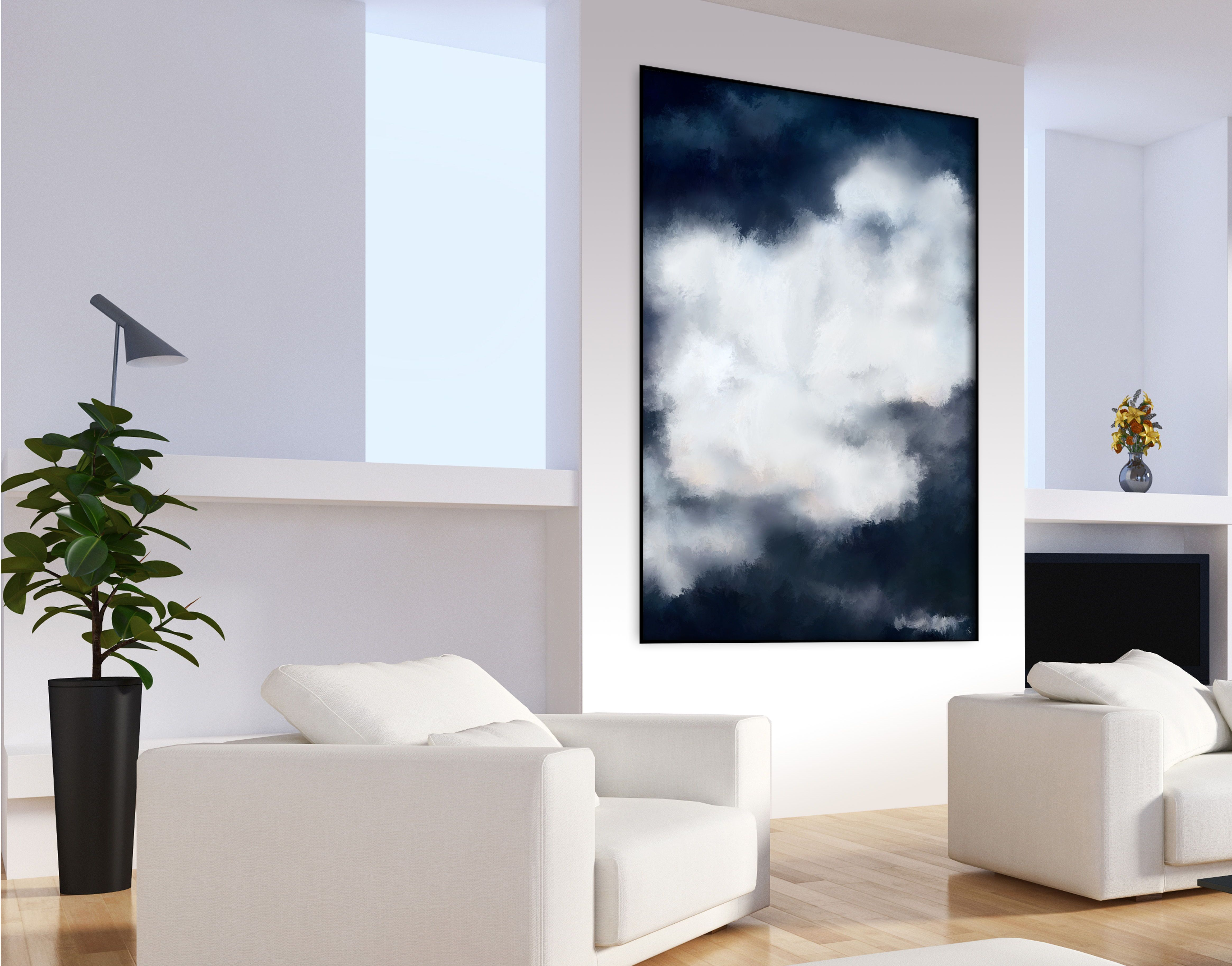Such a cloudy and moody freedom white abstract painting by fraborart walldecor