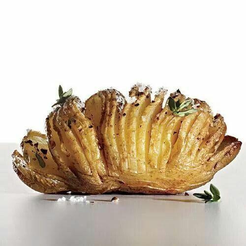 Look at this sliced,  seasoned baked potato!