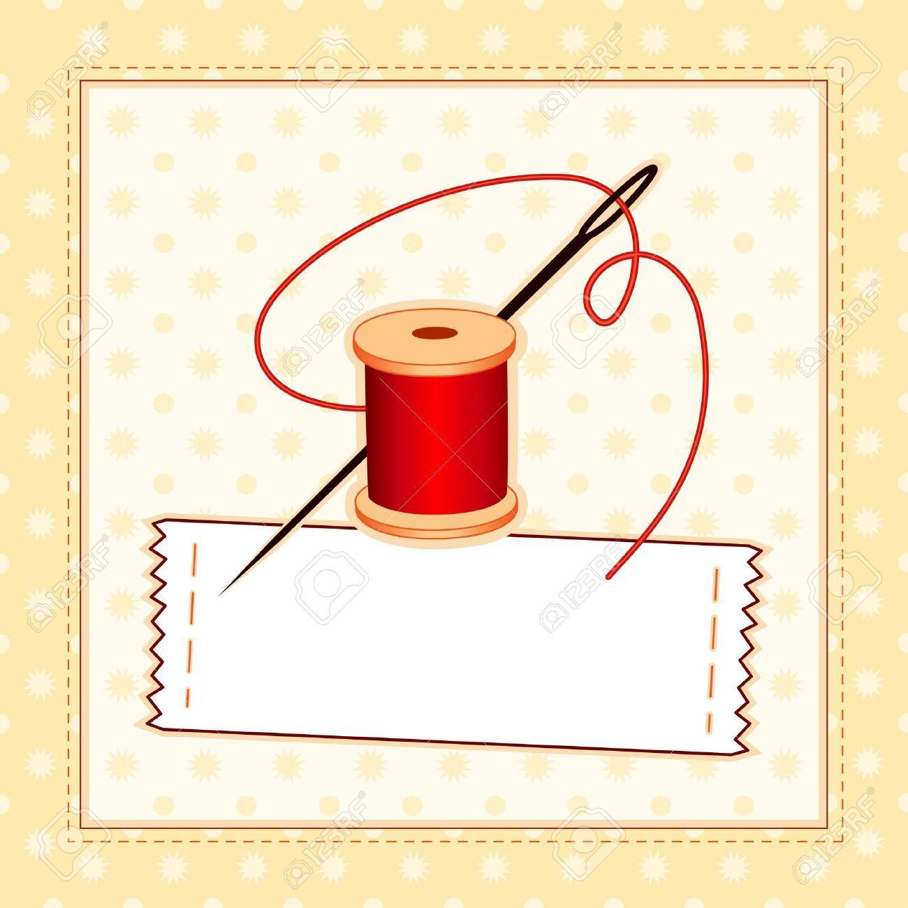 Costura Label, aguja e hilo, el patrón de cosido marco con copia ...
