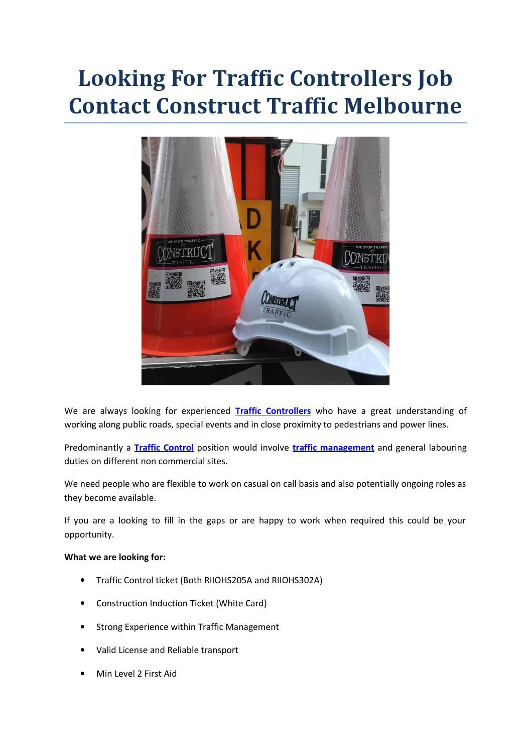 Looking for traffic controllers job contact construct
