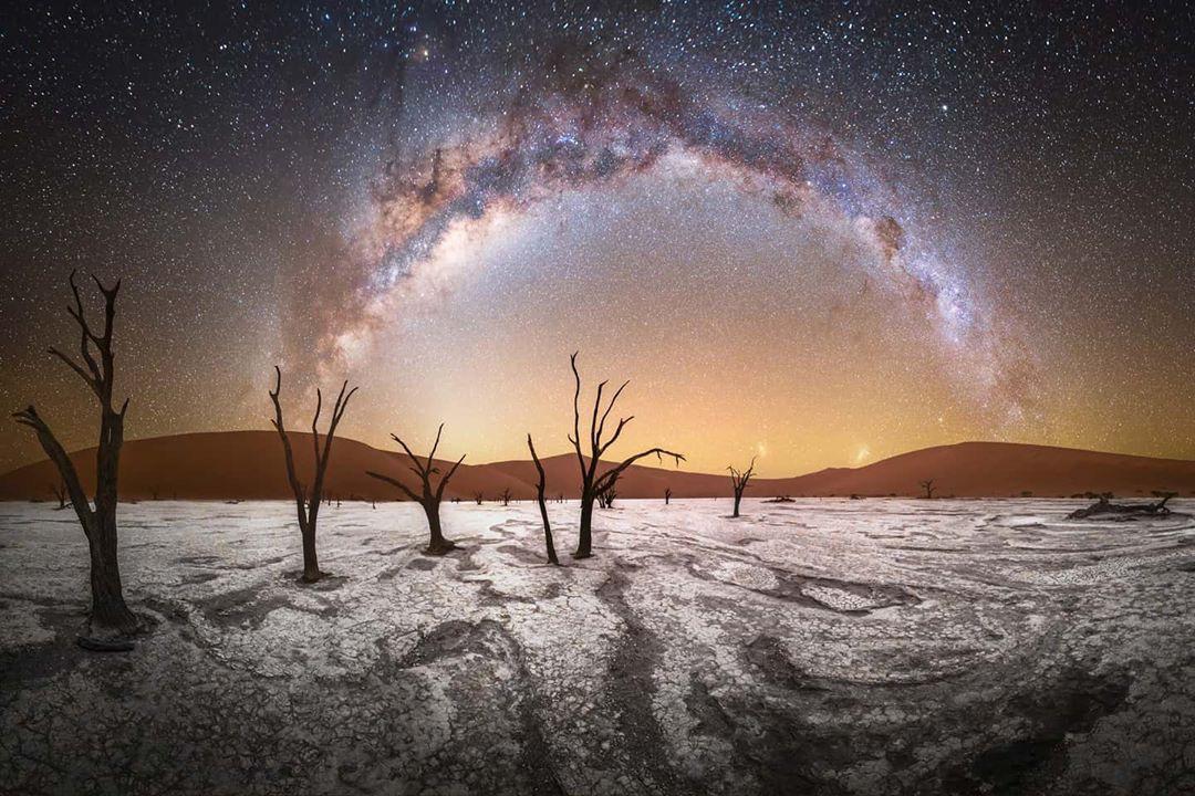 """Stefan Liebermann on Instagram: """"""""Starry Desert"""" Panorama of the amazing night sky in Dead Vlei inside Namib desert in Namibia. If you are interested to capture…"""
