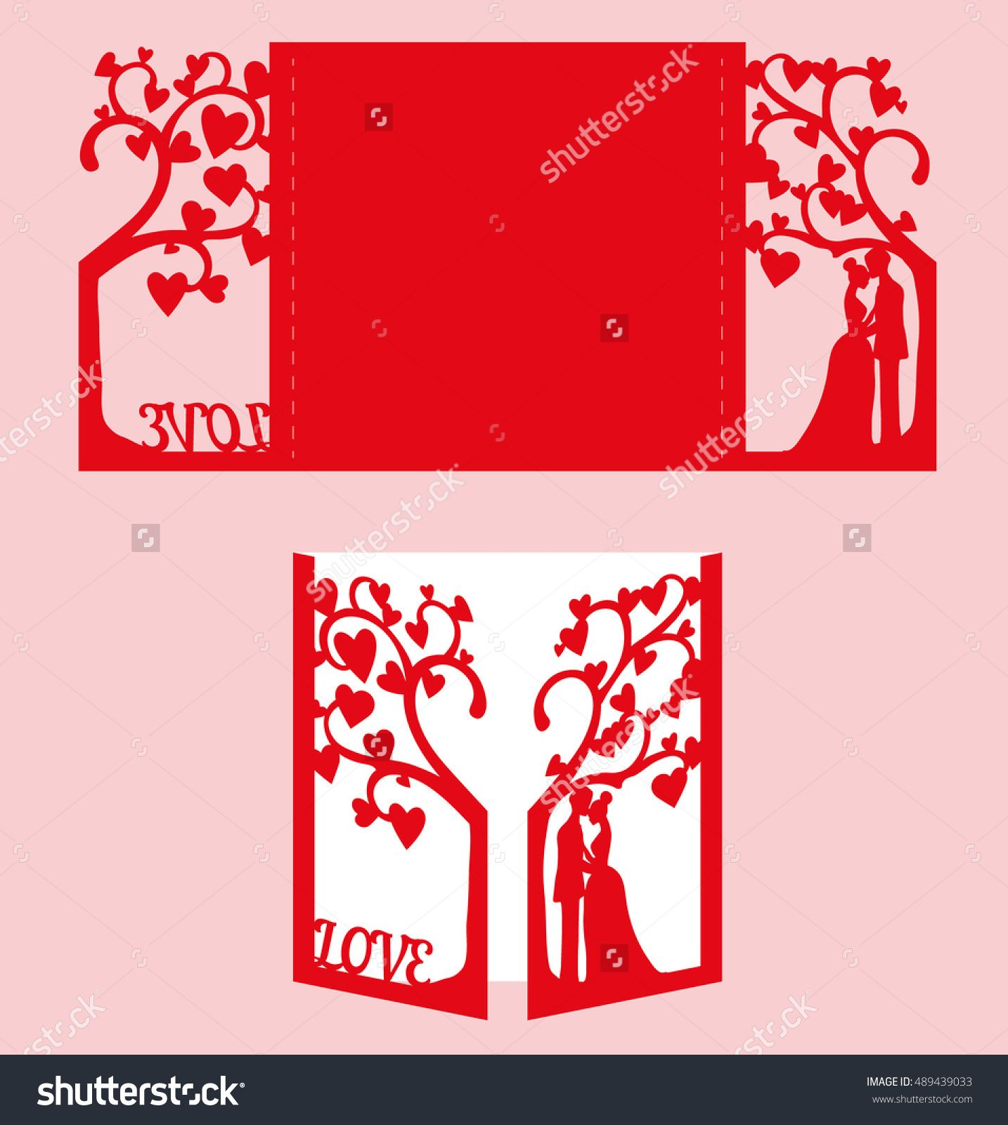stock-vector-wedding-invitation-with-bride-and-groom-and-tree-paper ...