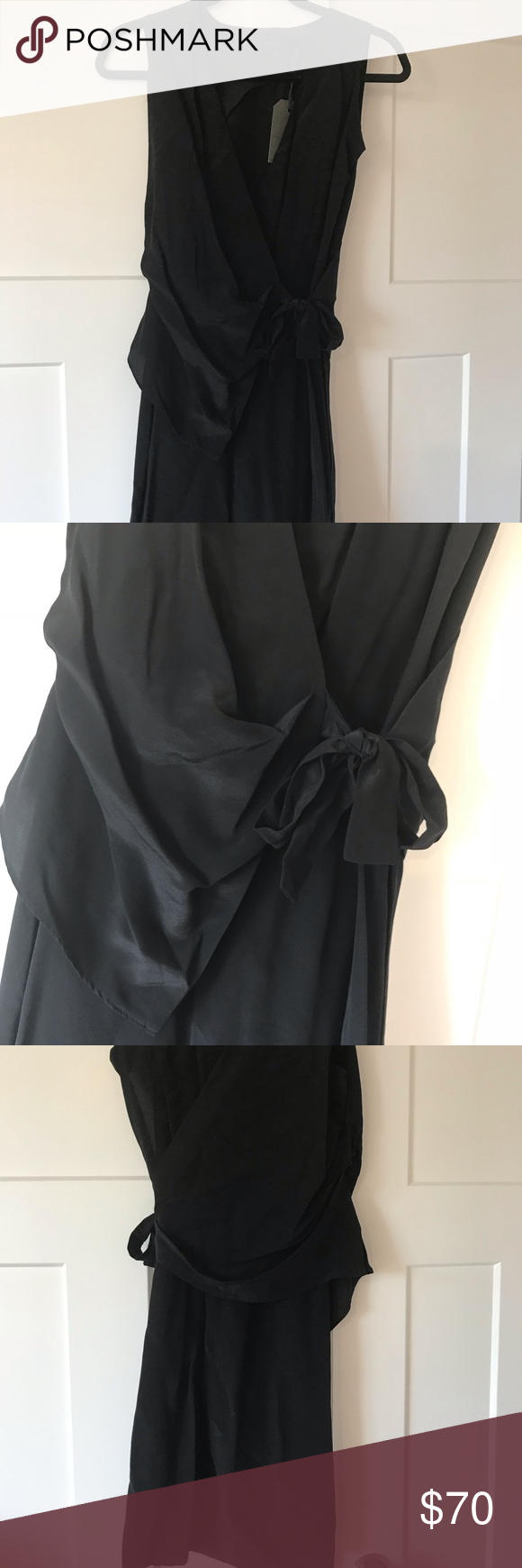 67d575b098e All Saints black wrap dress Never been worn. Center wrap that drapes from  the front