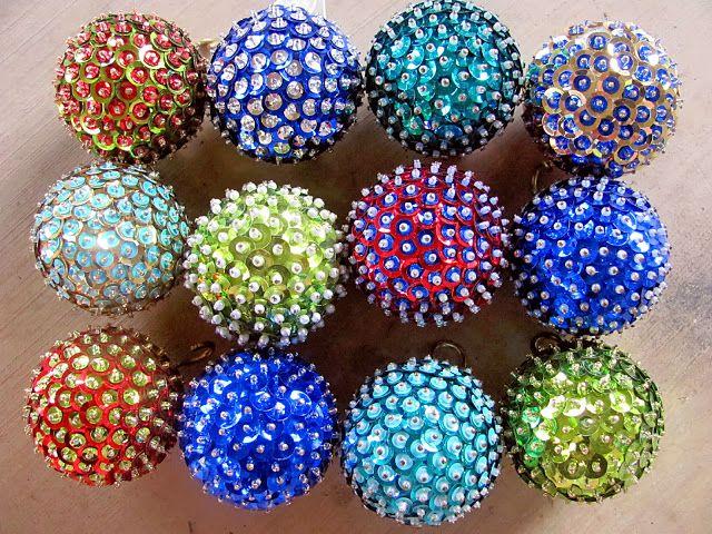 DIY Ornaments Styrofoam balls, sequins and pins (con