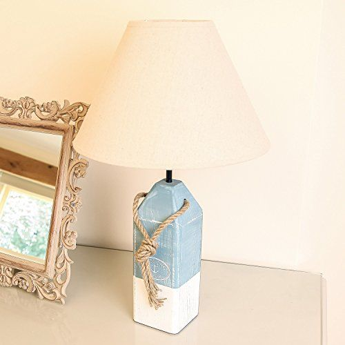Nautical sea blue white marine sailing wooden table lamp with sand lamp shade h51cm dibor