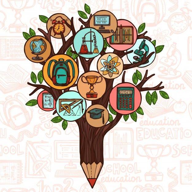 Tree With Education Icons Vetores Graficos Vetoriais Ideias Criativas