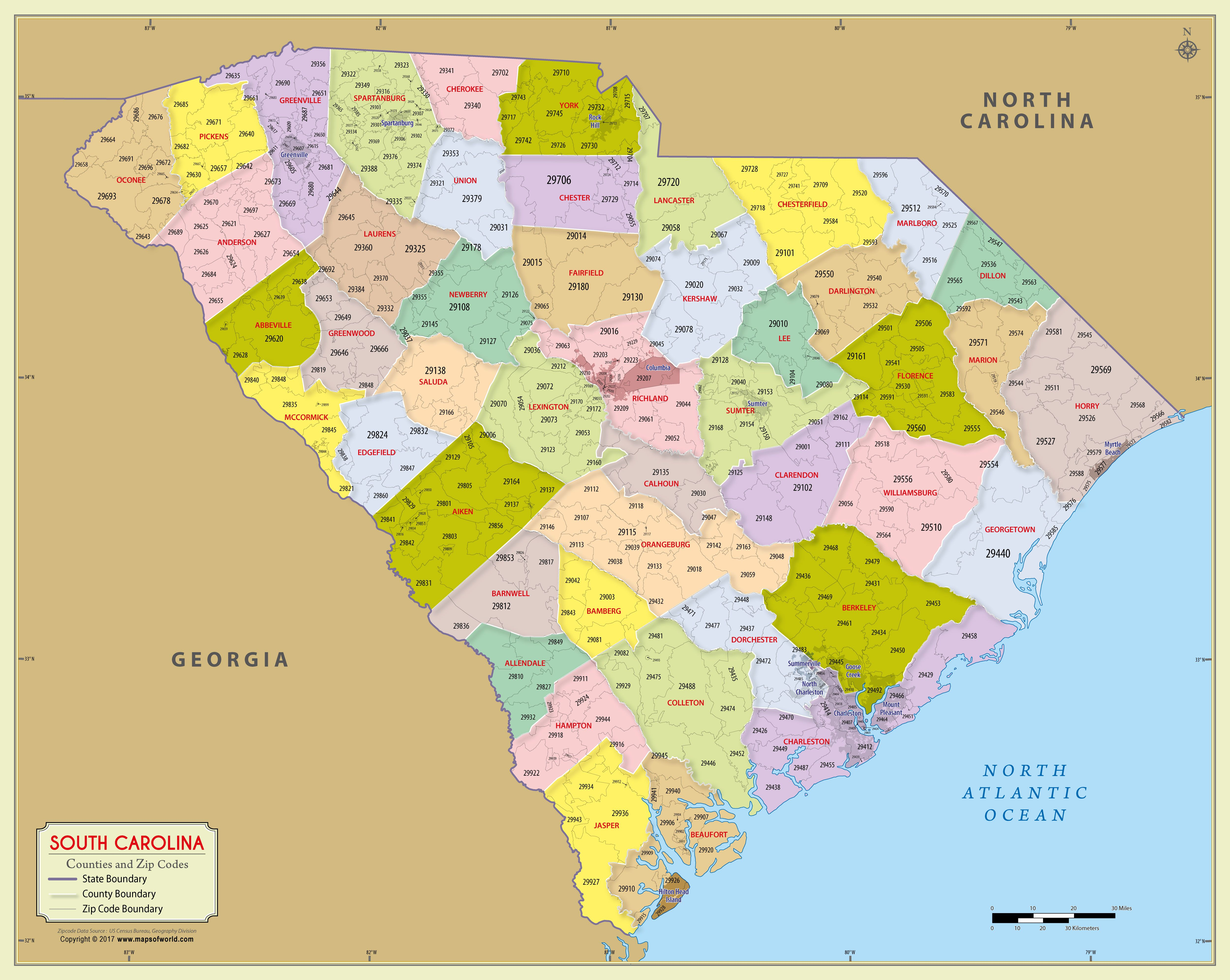 South Carolina Zip Code Map With Counties 48 W X 38 H