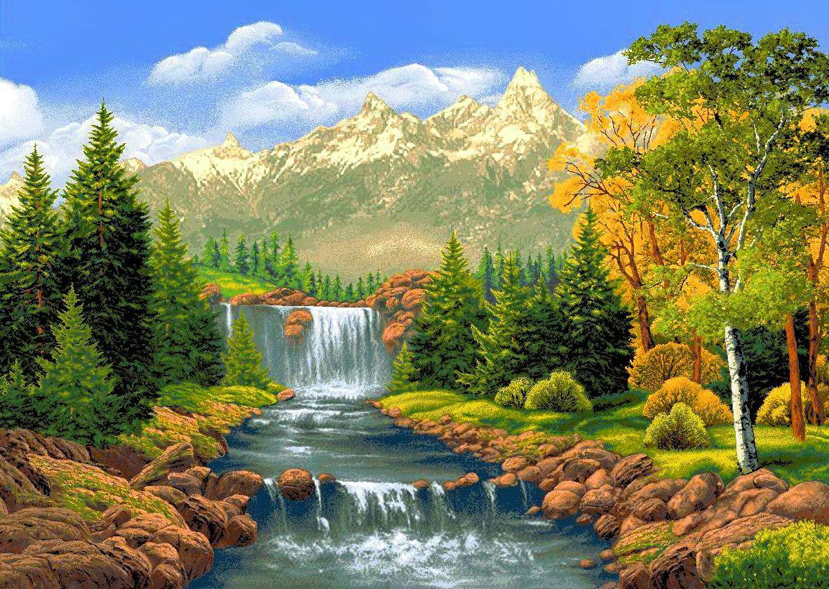 pintura em tela de cachoeiras pesquisa google pinturas pinterest pinturas em tela. Black Bedroom Furniture Sets. Home Design Ideas