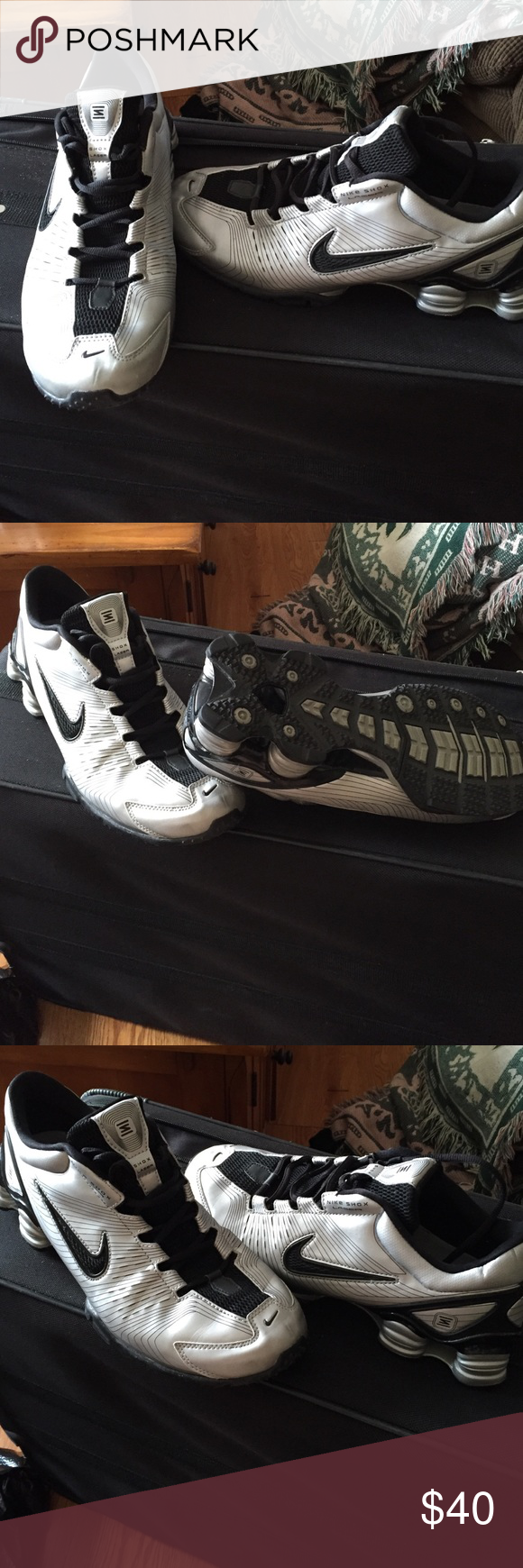 "SIZE 9 1/2 WOMANS ""NIKE SHOX LAZOR"" SNEAKER SILVER ,BLACK COLOR IN GREAT CONDITION ONLY NEEDS NEW INSOLES Nike Shoes Athletic Shoes"