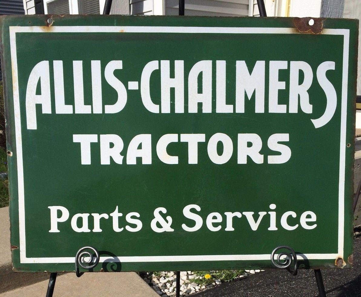 Allis-Chalmers Vintage Porcelain Sign (Old 1920 Antique 2-Sided Farm