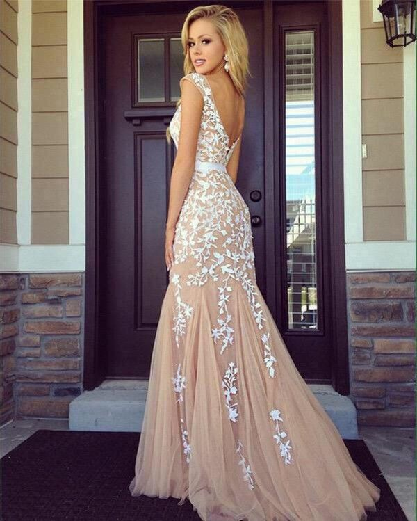 Dress: maxi long prom nude party prom floral white floral | Formal ...