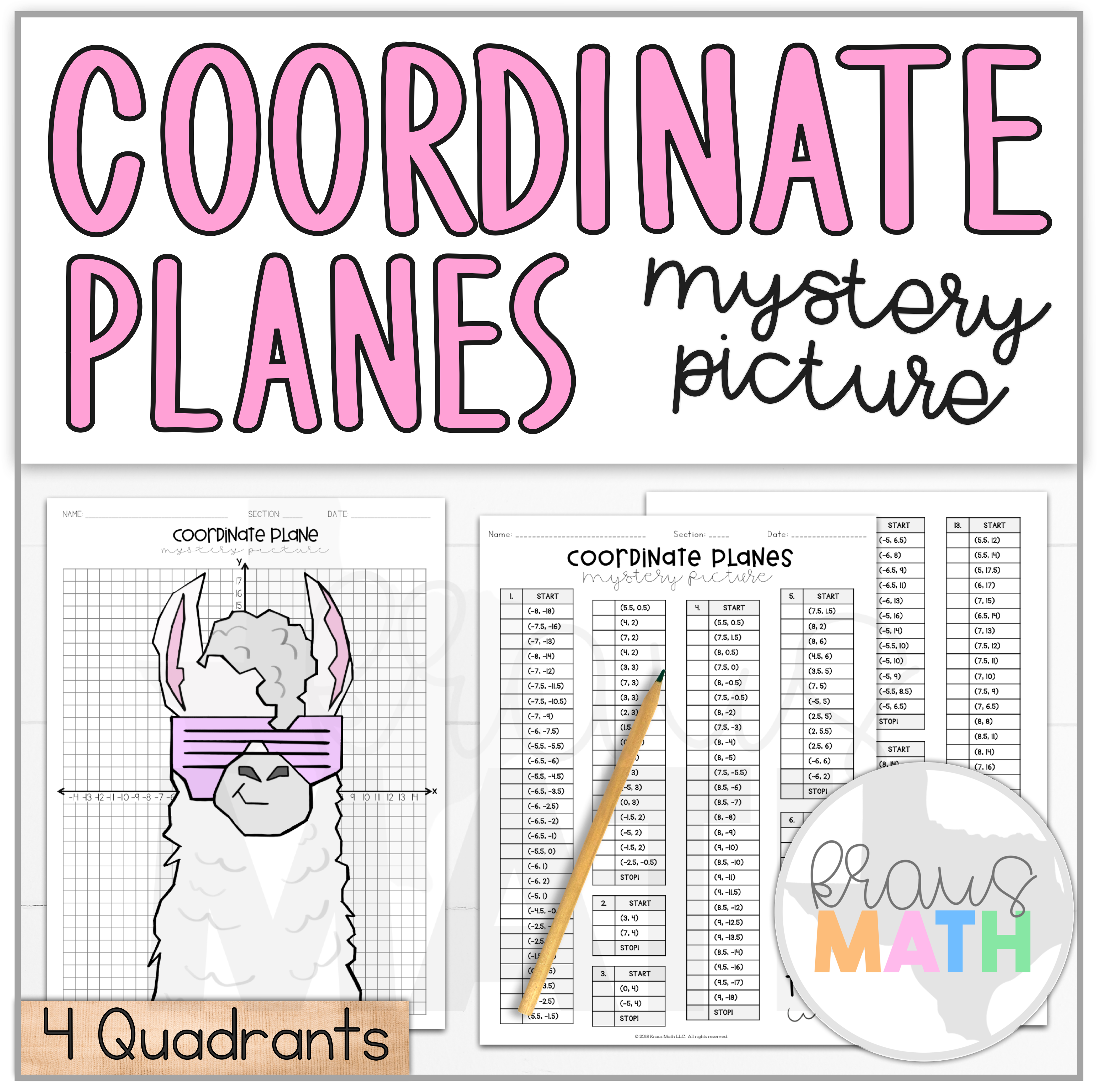 Trendy Llama Coordinate Plane Activity 4 Quadrants