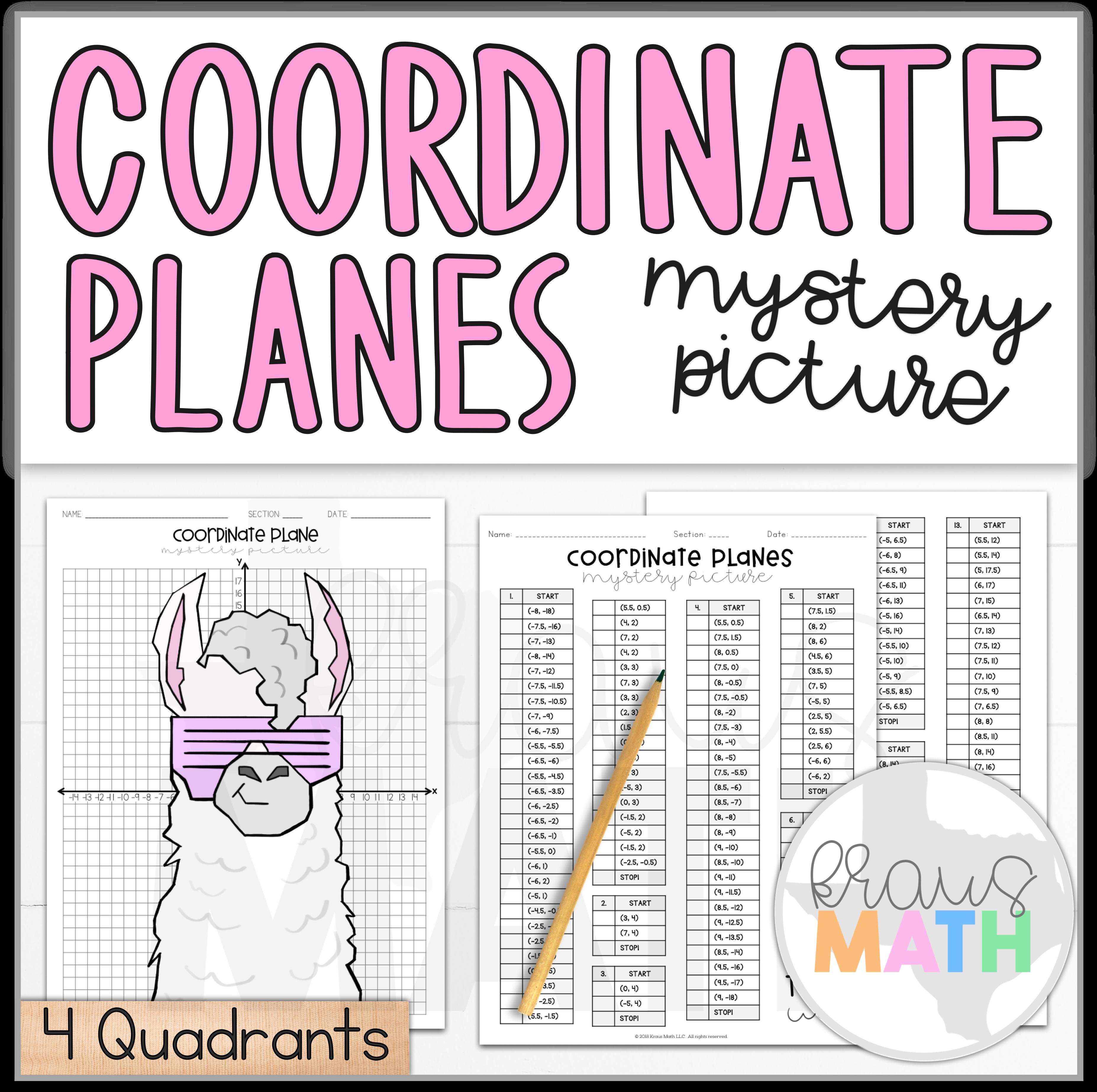 Trendy Llama Coordinate Plane Activity 4 Quadrants