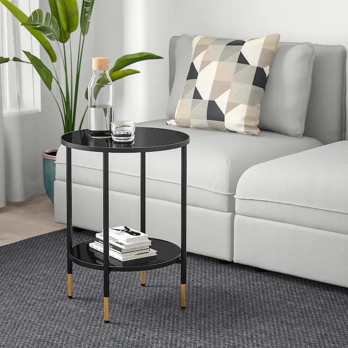 Asperod Side Table Black Glass Black 173 4 Ikea In 2021 Black Side Table Black Side Table Living Room Living Room Side Table