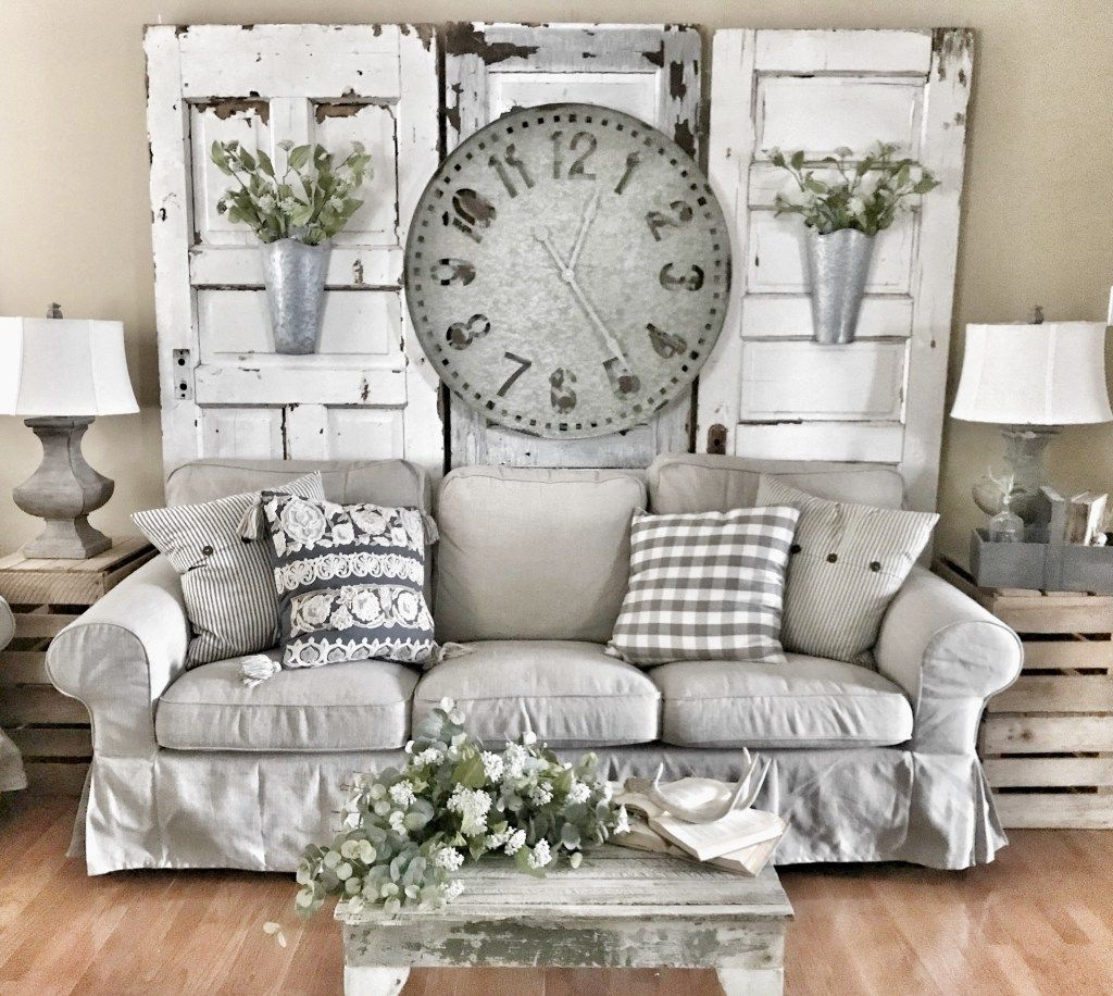 Bless This Nest | Farmhouse Oversized Clock Behind Couch In Living ...