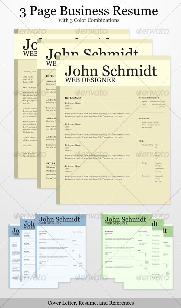 3 Page Business Resume with 3 Color Combinations Business resume - resumes with color