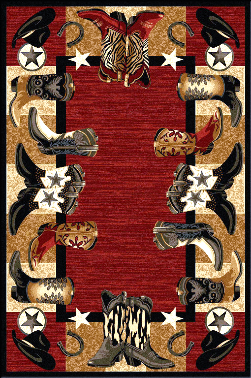 Bstwl29 4x5 Crimson Boots Western Area Rug 4 X 5 In 2020 Area Rugs Rugs Westerns