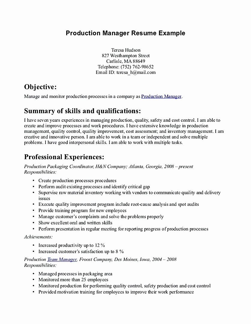 23 Production Manager Resume Examples in 2020 (With images