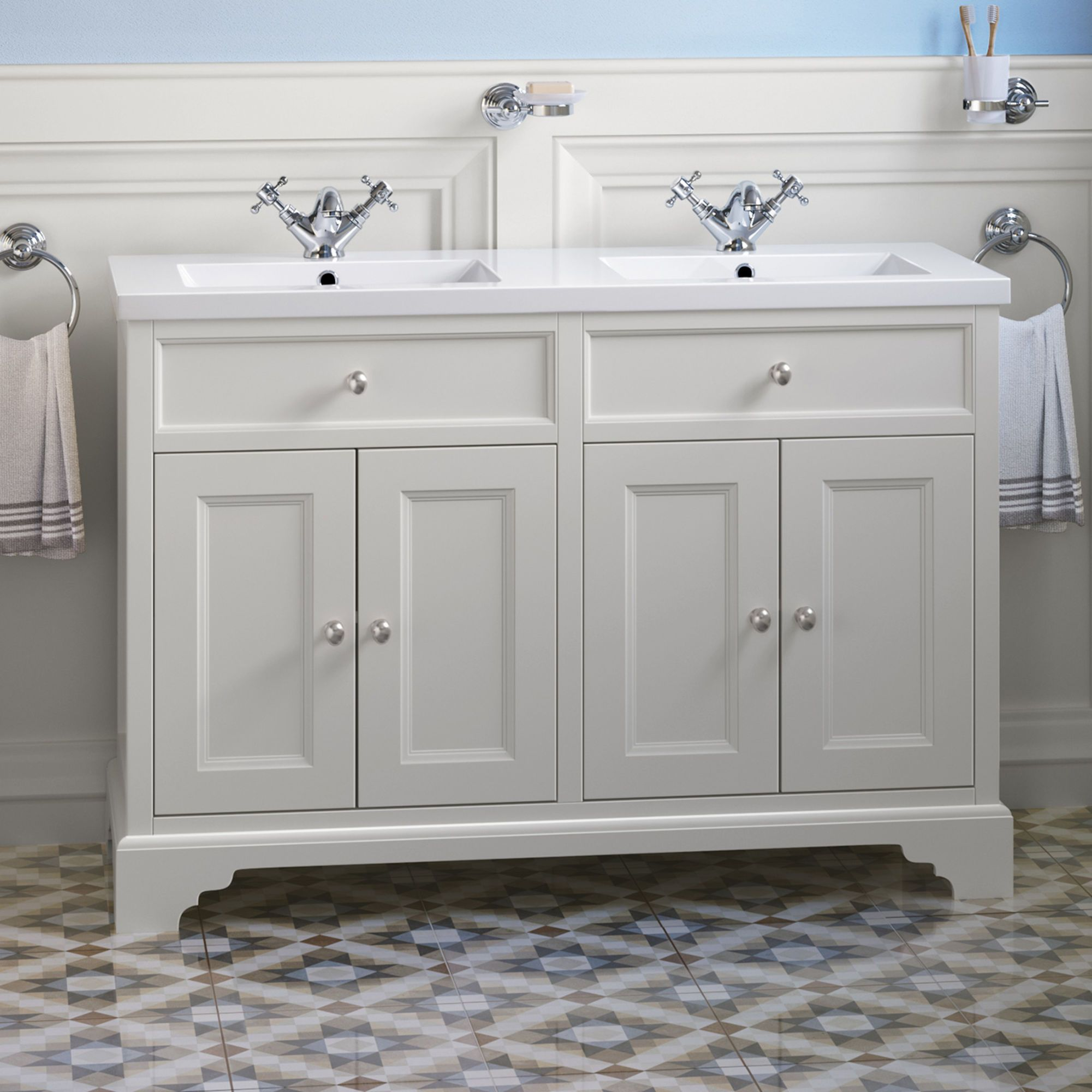 1200mm Loxley Chalk Double Basin Vanity Unit Floor Standing Vanity Units Sink Vanity Unit Bathroom Units