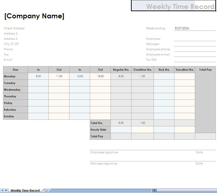 Free Timesheet Templates Printable  Simple  Step Solution To