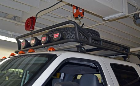 Warn Industries Sema F350 Project Bumper Winch Lights And Rack Truck Roof Rack Roof Rack Thule Roof Rack