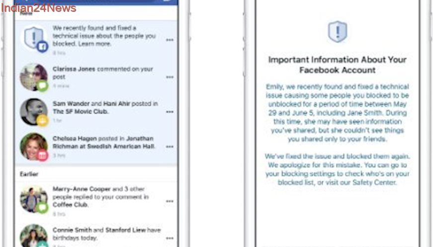 Facebook bug temporarily unblocked persons from 800,000