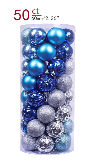 Valery Madelyn 50ct 60mm Winter Wishes Blue Silver Shatterproof Christmas Ball Ornaments Natal Azul