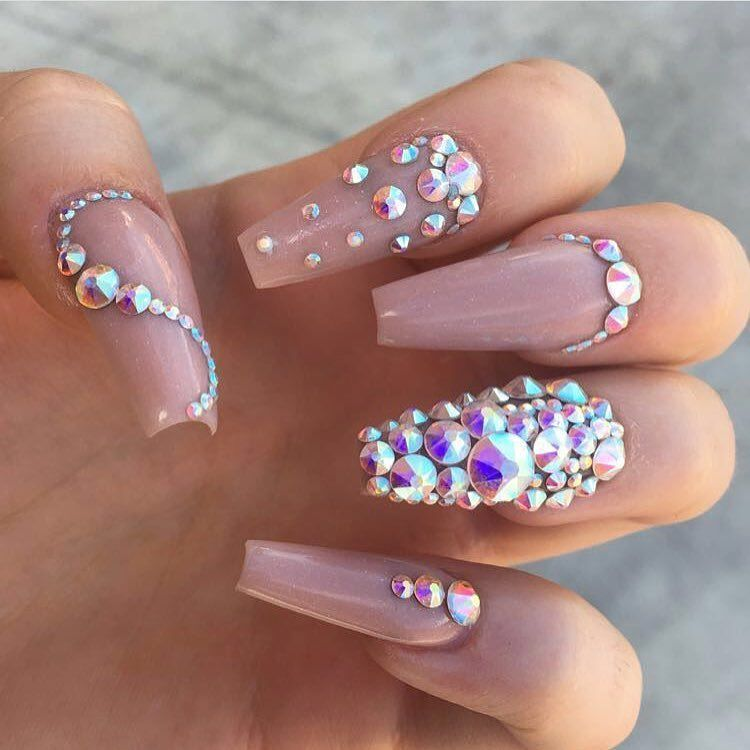 Blinged out nude colored coffin shaped nails with rhinestones nail art - Go Follow Pinterest: @DatGruhTriniece Nailz✨ Pinterest
