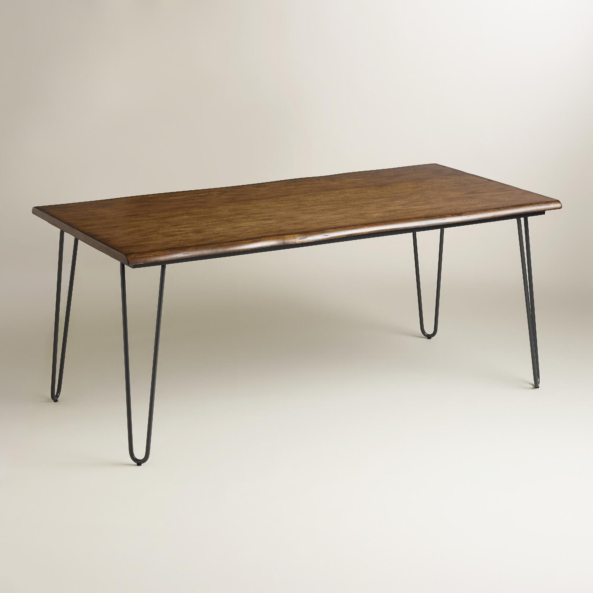 Wood flynn hairpin dining table cleaning wood grain and for Plywood table hairpin legs