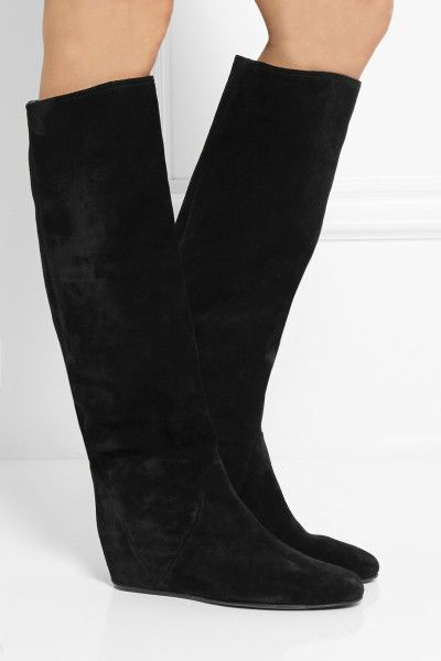 ~ $1,245 LANVIN BLACK SUEDE KNEE HIGH WEDGE BOOTS (FRENCH GIRL CHIC!) ~ 37 #LANVIN #Boots