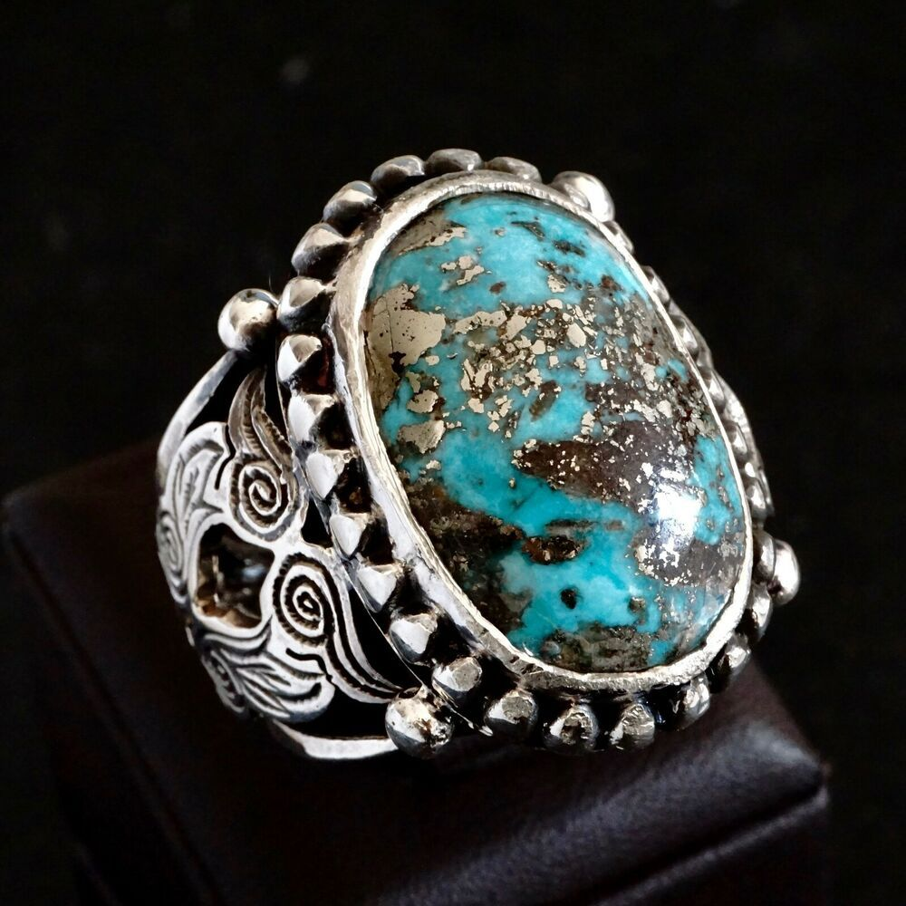 Turquoise Mens Ring Sterling Silver Handmade Unique