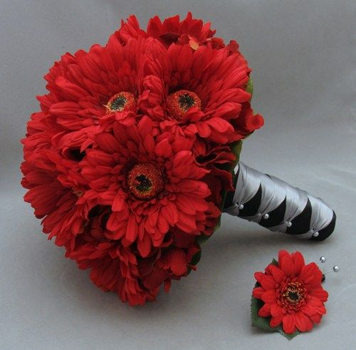 Gerber Daisy Bridal Bouquet Real Touch Red Gerber Daisies Boutonniere | SongsFromTheGarden - Wedding on ArtFire