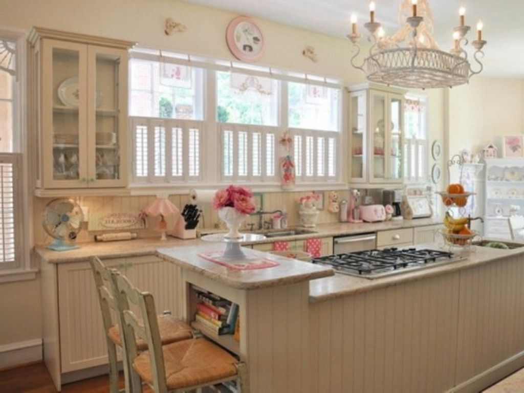 Fashionable Shabby Chic Kitchen Idea With Wooden Cabinets And Floor Shabby Chic Kitchen Decor Shabby Chic Kitchen Shabby Chic Room