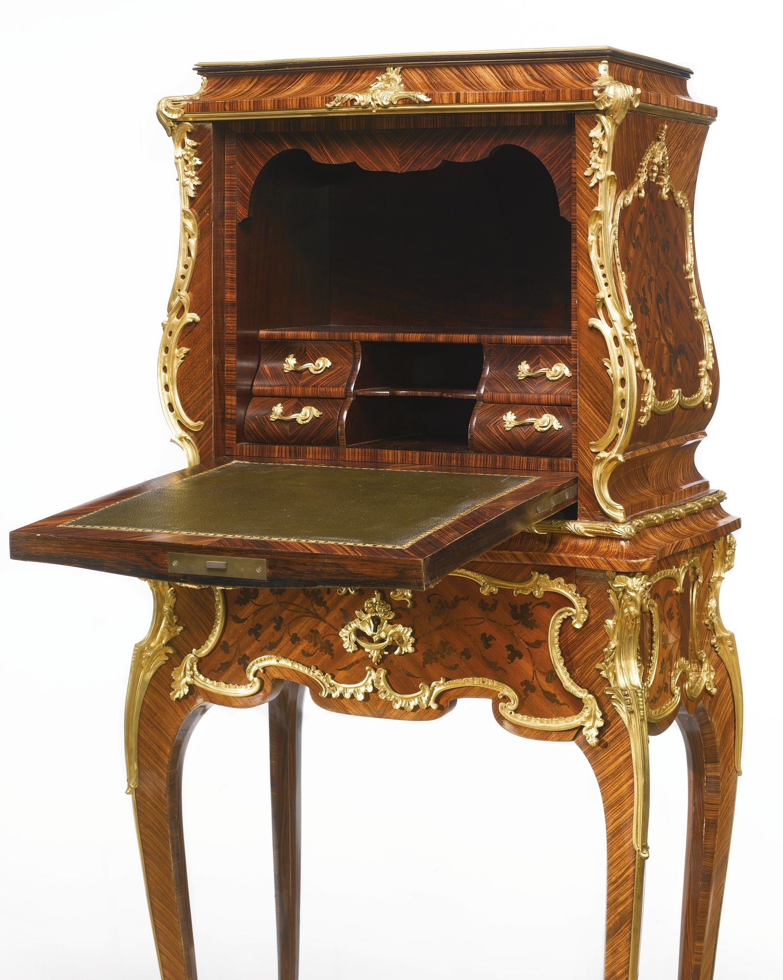 a louis xv style gilt bronze mounted kingwood satin and end cut floral marquetry secr taire. Black Bedroom Furniture Sets. Home Design Ideas