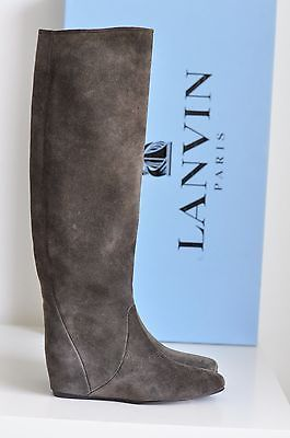 7e24c65645d5b NIB-Auth-Lanvin-Runway-Suede-Hidden-Wedge-Taupe-Knee-High-Boots-Shoes-7-us -37