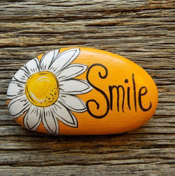 Smile Daisy Painted Rock, Decorative Accent Stone, Paperweight