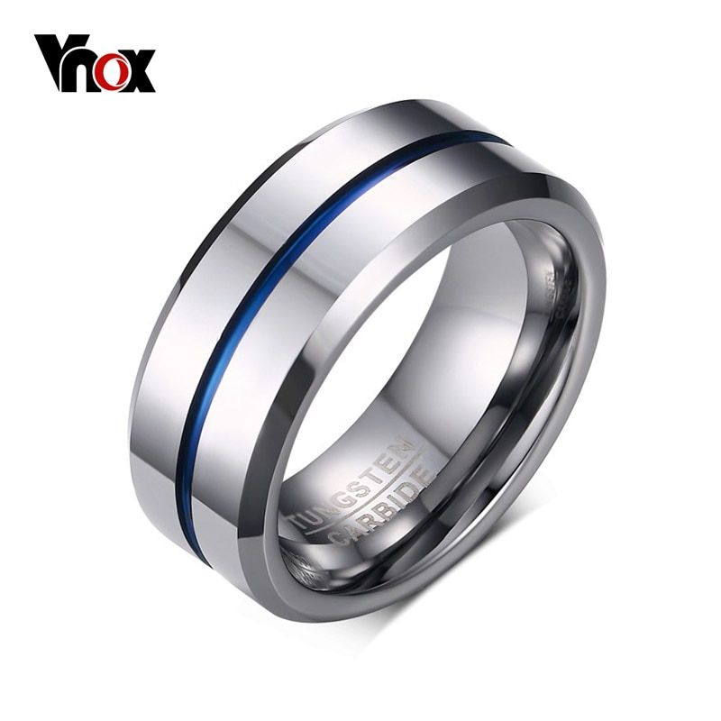 100 Tungsten Carbide Rings For Men 8mm Width Top Quality Male Wedding Jewelry Hot Sales Usa Rings For Men Blue Rings Tungsten Carbide Mens Rings