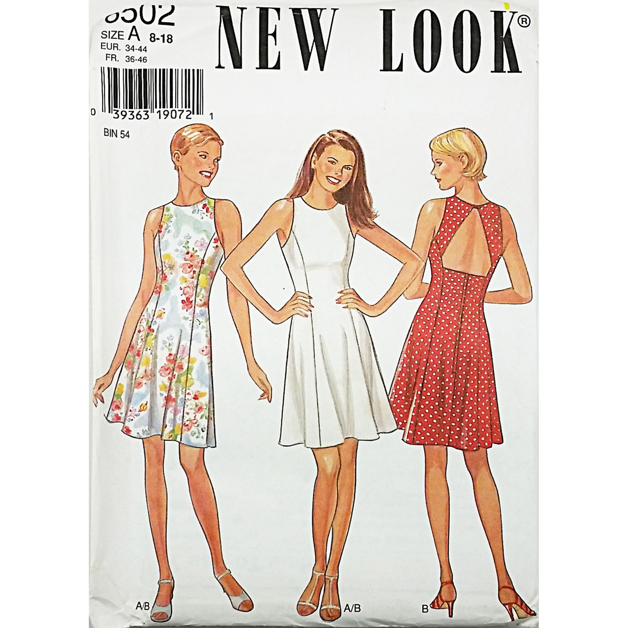 Misses Dress Simplicity New Look 6502 Sewing Pattern Vintage Size 8 ...