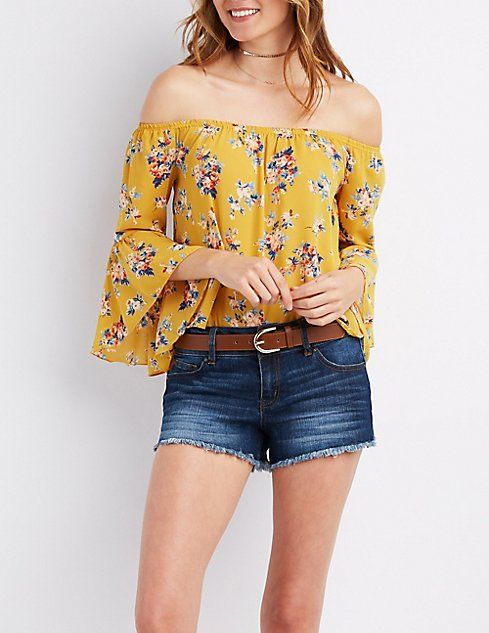 93d943e8bd4399 Floral Off-The-Shoulder Bell Sleeve Top | Clothes Galore! in 2019 ...