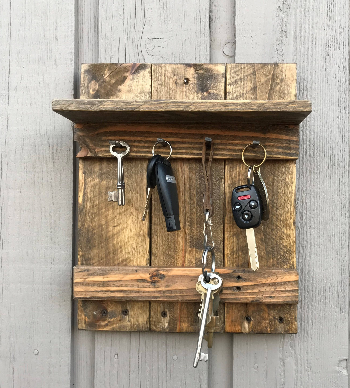Rustic Reclaimed Wood 4 Hook Key Holder With Shelf Rustic
