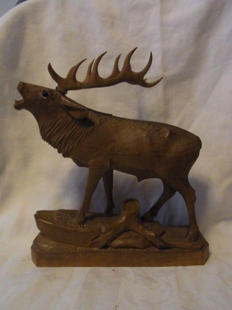 Vintage German Black Forest Carved Wood Deer Estrous Wood