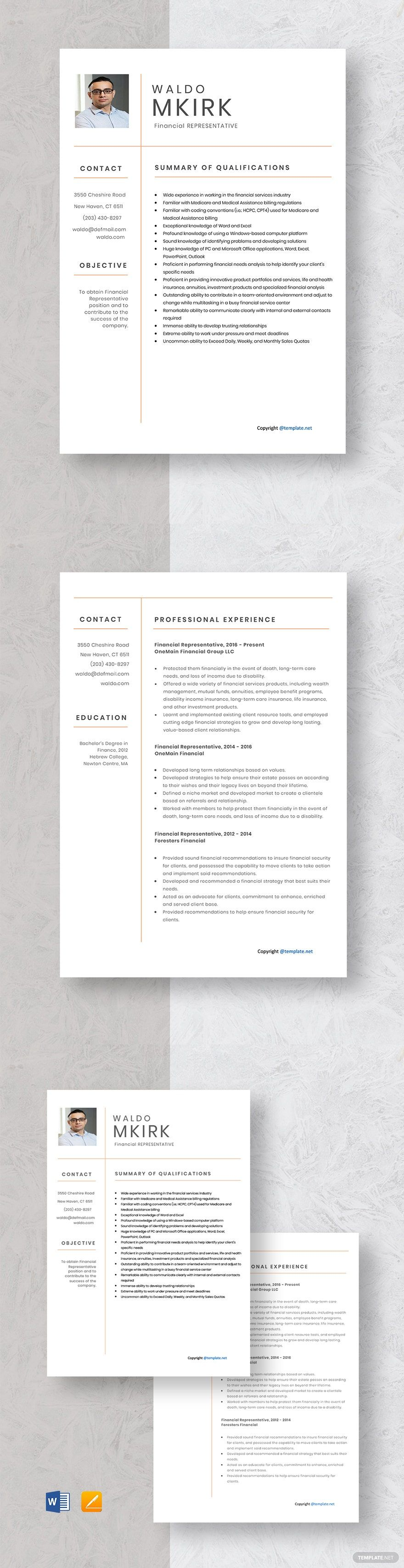 Instantly Download Free Financial Representative Resume