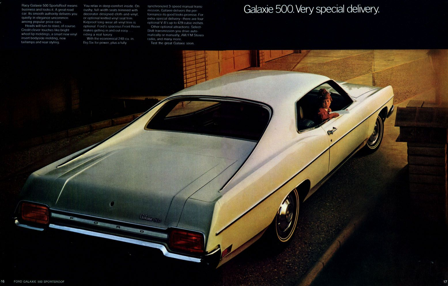 1970 Ford Full Sized Brochure Galaxie 500 Sportsroof Not A True Fastback The Sportsroof Created A Fastback Feel W Ford Galaxie Galaxie Sliding Door Design