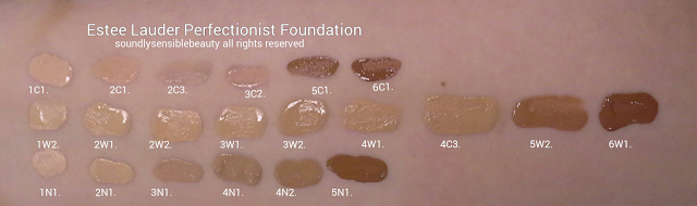 Estee Lauder Perfectionist Youth Infusing Foundation, Swatches of Shades 1C1 Cool Bone, 2C1 Pure Beige, 2C3 Fresco, 3C2 Pebble, 5C1 Rich Che.